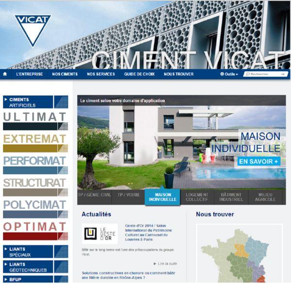 Site internet ciment Vicat